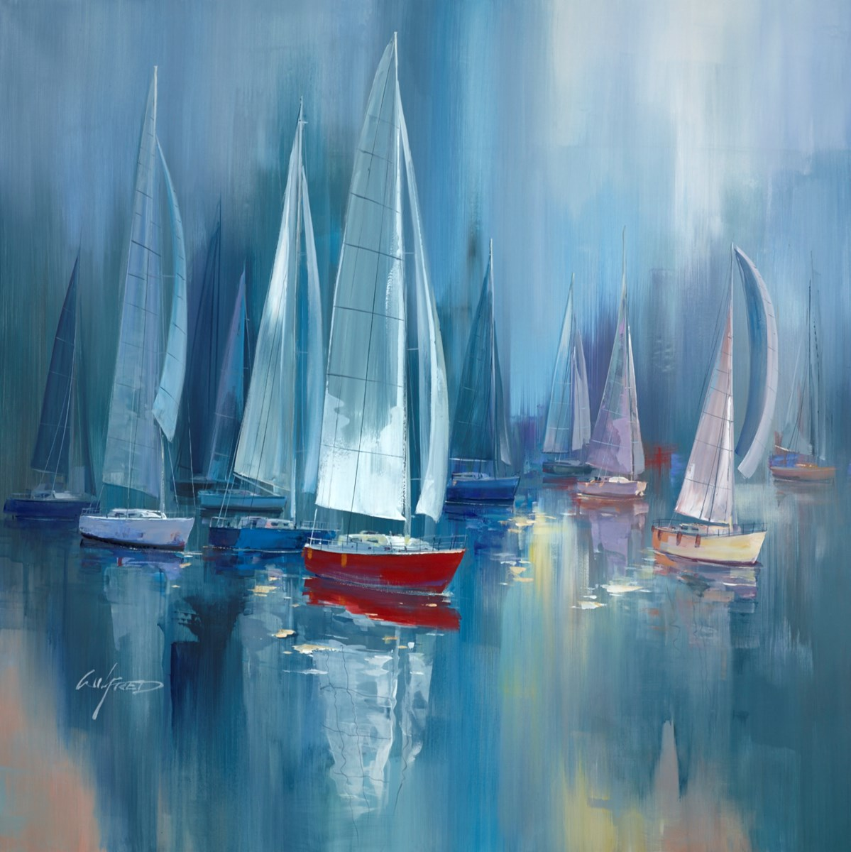 White Sails II by wilfred -  sized 38x38 inches. Available from Whitewall Galleries